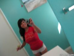 Busty latina GF Layla takes selfies of her hot body in the bathroom