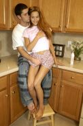 Pictures of Jenny Heart playing with her boyfriend in the kitchen