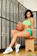 Hot ass brunette plays basketball then hits the locker room and gets fucked