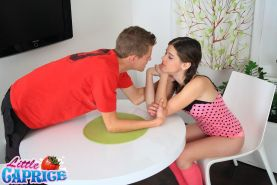 Pictures of Little Caprice getting her tight pussy plugged hard