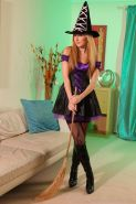Hot teen girl Sophia Smith dresses up as a sexy witch for halloween