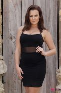 Jodie Gasson drops her black dress outside to expose her big boobs