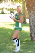 Pictures of teen Alison Angel playing some kinky soccer outside
