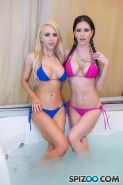 Jessica Jaymes and Alix Lynx give a double pov blowjob