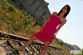 Pictures of Bryci naked on the train tracks