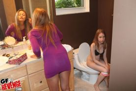 Watch 2 hot teens finger fucked hard in these group sex bathroom sex pics