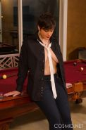 Busty short-haired girl Annalise gets turned on by a game of pool