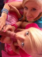 Pictures of teen girl Little Laney sharing a cock with Little Lexy