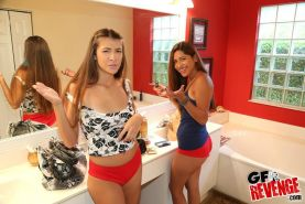 Hot coeds Camila Casey and Giani have a threesome with their friend and film it