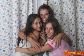 Three lesbian teen hotties playing with each other