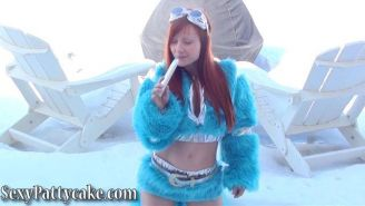 Screencaps of Sexy Pattycake playing with her vibrator in the snow