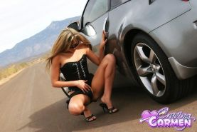 Pictures of Craving Carmen getting naked with her car